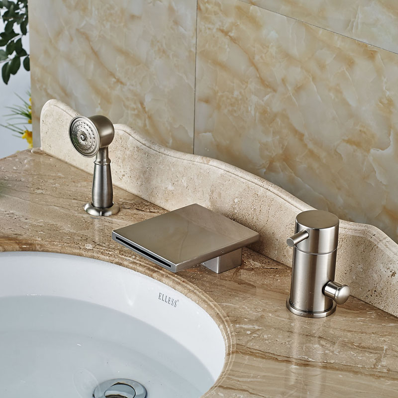 Widespread Waterfall Spout Bathtub Faucet Three Holes Mixer Tap Nickel Brushed цена
