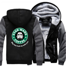 HAMPSON LANQE Star Wars Casual Mens Coat 2019 Winter Warm Fleece High Quality Sweatshirt Men Hipster Slim Fit Thicken Hoodies