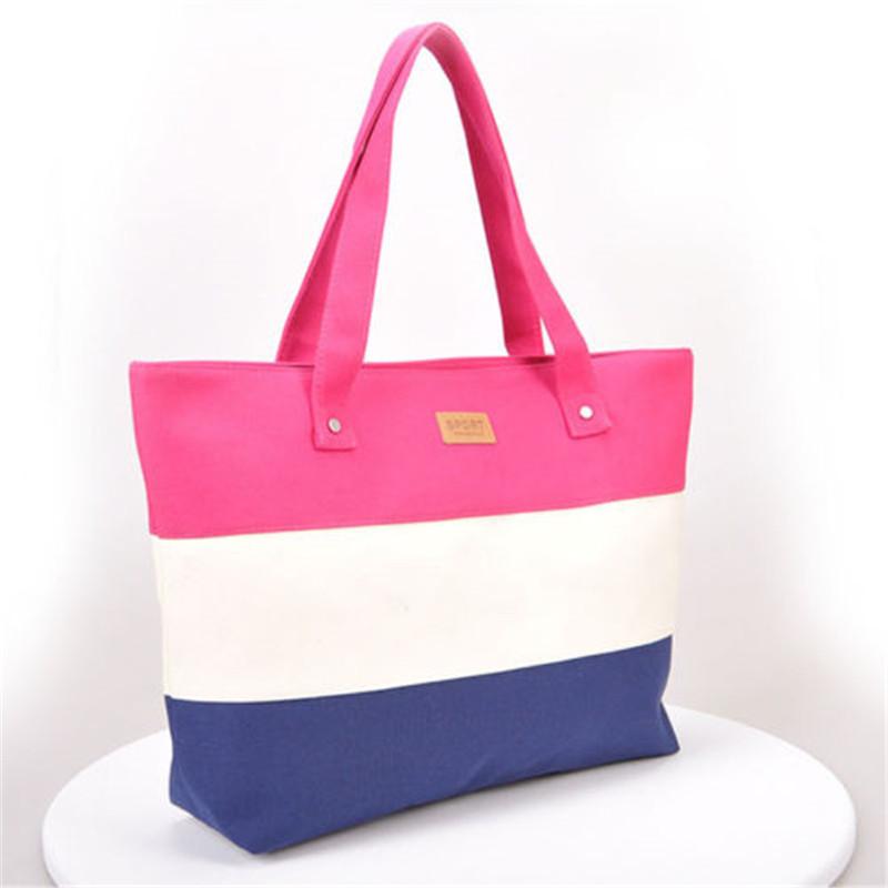 2017 New Mujer Summer Messenger Bag Beach Handbag Bags Brand Totes Women Ladies Stripes Canvas Shoulder Bag Drop Shipping N508 8