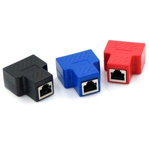 Image 2 - Adaptador divisor RJ45, 1 a 2, enchufe Ethernet Dual, conexiones de Red, adaptador divisor para placa PCB, soldadura, Azul, Negro, Rojo