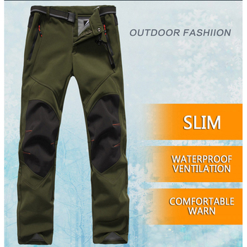 Men Winter Pants Waterproof Snow Ski Pants Thick Warm Soft Shell Pant Outdoor Camping Skiing Snowboard Sport Windproof Trousers  1