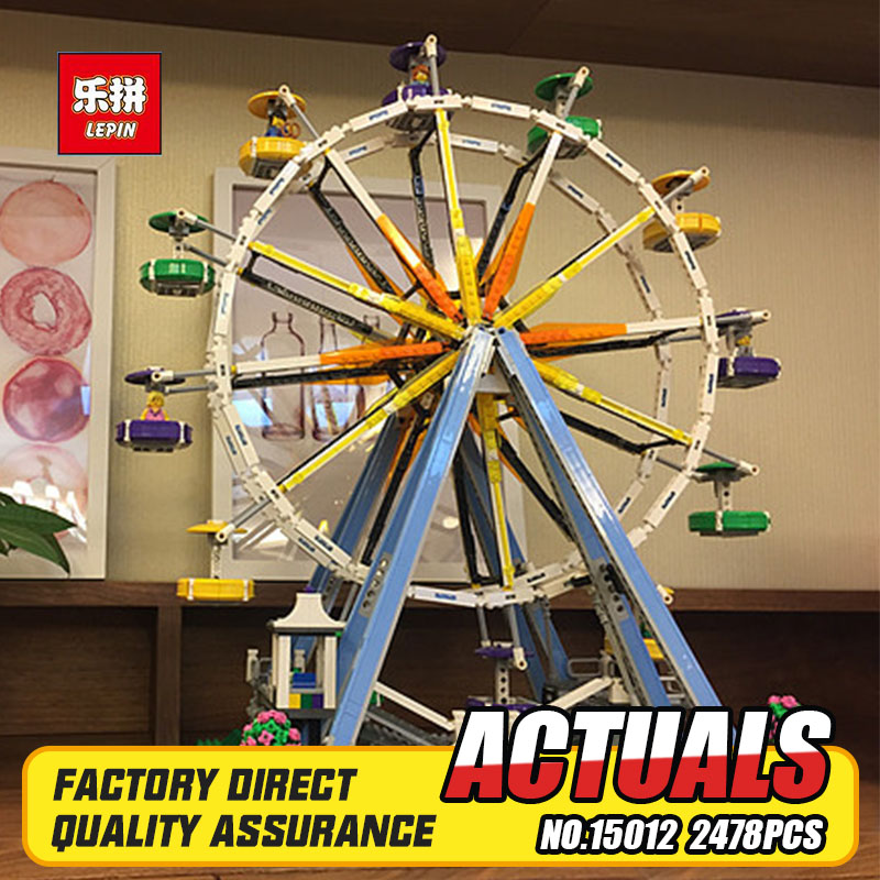 IN STOCK 2518pcs New Lepin 15012 City Street Ferris Wheel Model Building Kits Blocks Toy Compatible with 10247 gifts lepin 15012 2478pcs city series expert ferris wheel model building kits blocks bricks lepins toy gift clone 10247