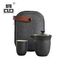 Bule de cerâmica com 2 TANGPIN xícaras de chá chinês pote de viagem portátil jogo de chá|Jogos de chá| |  -