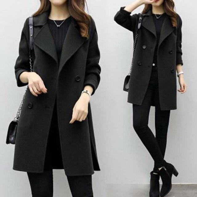 HOT Autumn Winter Women Casual Coats Turn-down Collar Warm Long Sleeve Slim Lapel Cardigan Outwear 19ING