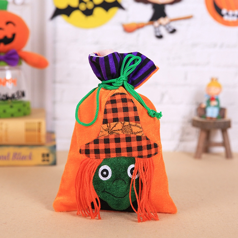 1pc Flannel Candy Bag Halloween Bags Trick or Treat with Decoration Sack Gift bag witch