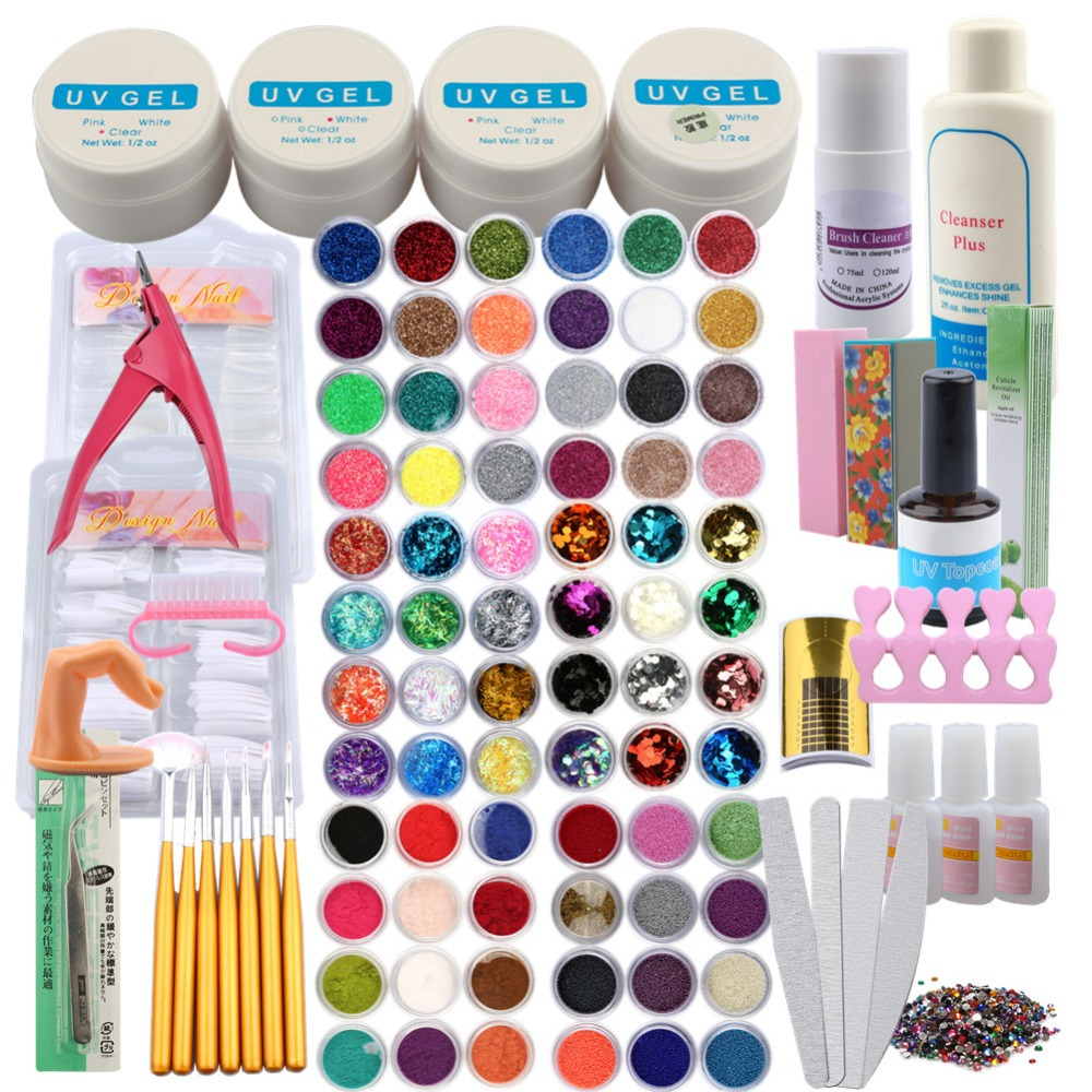 UV Gel Set For Manicure Gel Sets False Tips Buffing Block Nail Art Tools Set Nail Extension Kit UV Gel Polish Kit For Manicure