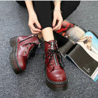 winter autumn Punk women Motorcycle 2019 boots fashion high top zipper thick bottom ladies boots feminina Ankle boots LG 13