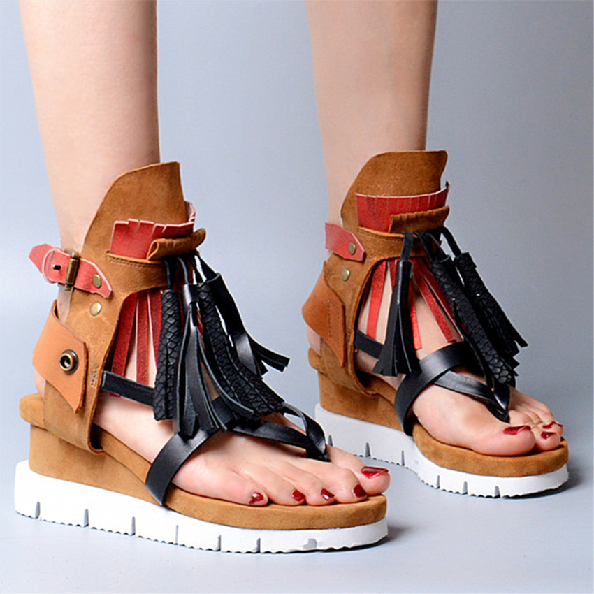Choudory Bohemia Women Genuine Leather Summer Sandals Casual Platform Wedge Shoes Woman Fringed Gladiator Sandal Creepers Wedges timetang 2017 leather gladiator sandals comfort creepers platform casual shoes woman summer style mother women shoes xwd5583