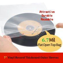 25 düz Açık Üst Çanta 6.7 Mil Güçlü Kapak Plastik Vinil Kayıt Dış Kollu 7 ''Kayıt Örtüsü 45 RPM