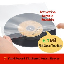 25 Flat Open Top Bag 6.7 Mil Strong Cover Plastic Vinyl Record Outer Sleeves for 7'' Record Cover 45 RPM