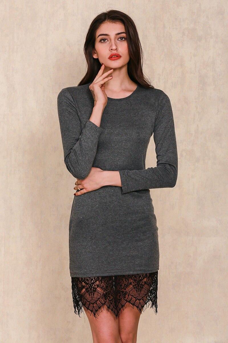 Gray long sleeve lace dress
