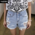 Summer Wind Female Blue High Waist Denim Shorts Women Worn Loose Hole Shorts Short Jeans Frayed Female Super Cool Flash Shorts