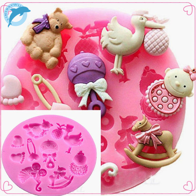 LINSBAYWU Baby Shower Party 3D Silicone Fondant Mold For Cake Decorating free shipping