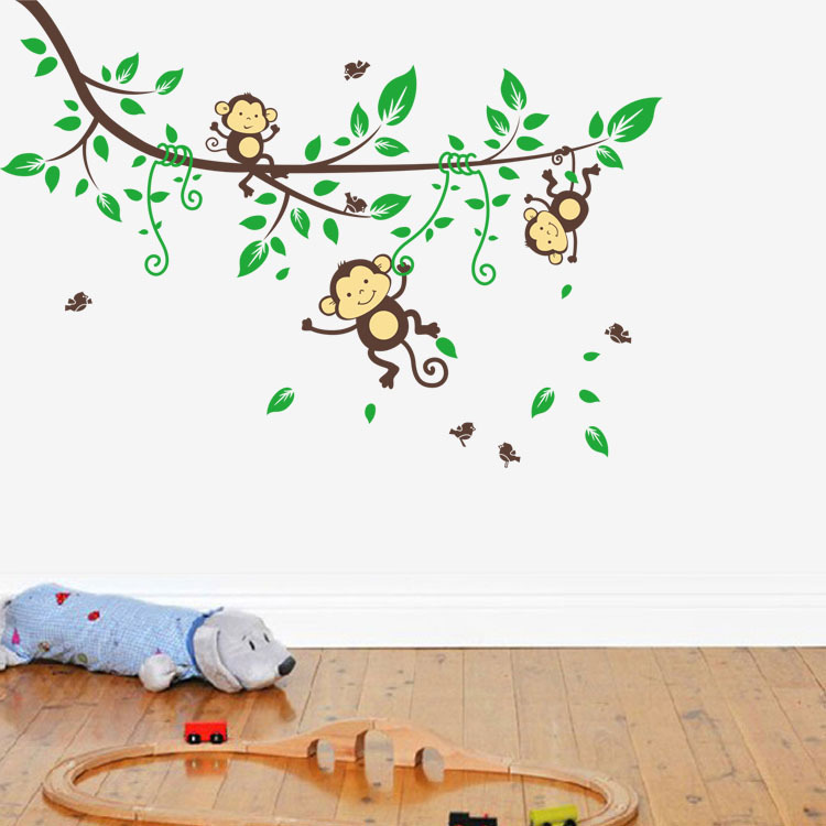 Green Tree Branch Wall Stickers Boys Kids Home Bedroom Decoration Cute Monkeys Wallpaper Decals In From Garden On Aliexpress