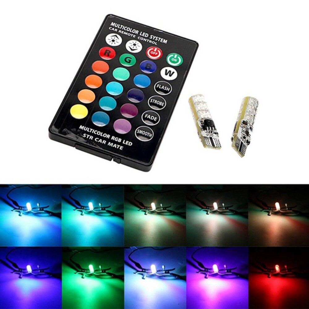 Remote Control Car Interior RGB LED Car Dome Reading Light T10 6SMD 5050 Super Bright Lamp Bulb Universal Auto Interior Lamps