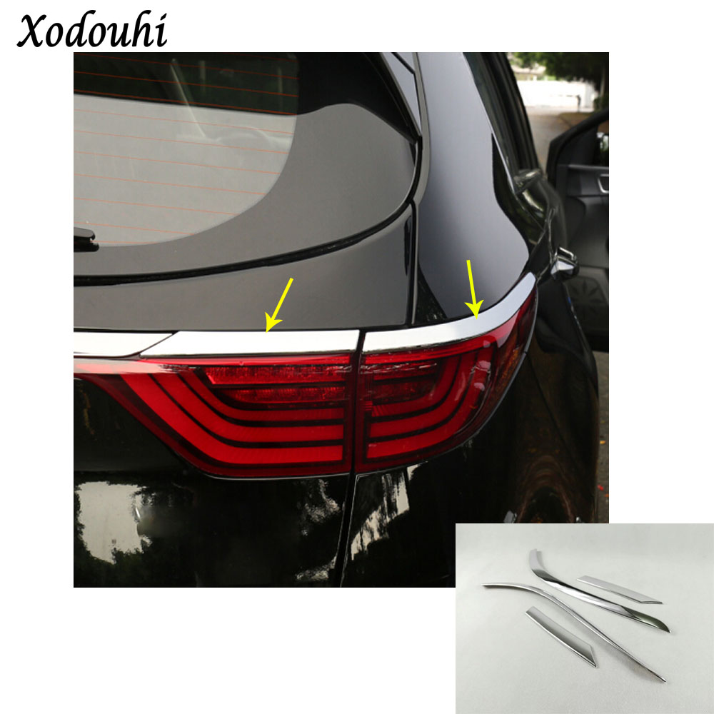 car rear tail eyebrow Light lamp detector frame stick styling ABS Chrome cover trim molding for Kia Sportage KX5 2016 2017 2018