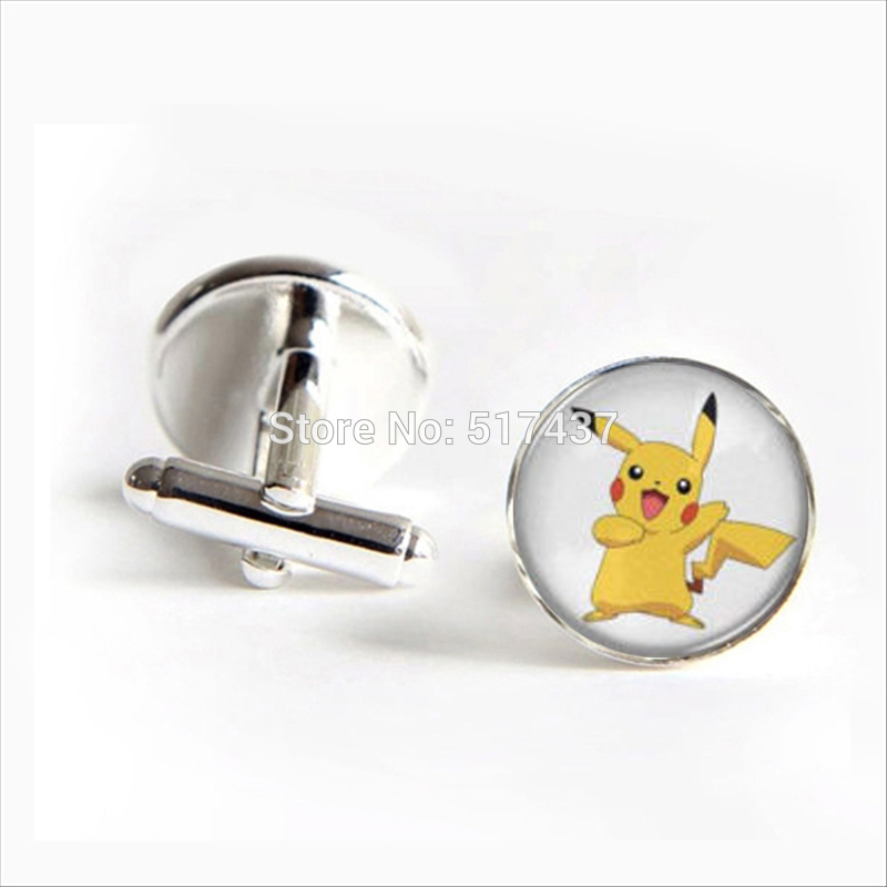 2017 Wholesale Pikachu Cufflinks Case For Pokeball Cuff Link Glass Case For Pokemon Cufflink Men Cufflinks High Quality