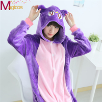 Unisex Adult Flannel Onesies Pajamas Animal Suits Purple Cat Cosplay Halloween Party Sleepwear Homewear