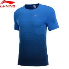 Li-Ning, мужская Трикотажная футболка для бега, бесшовная, нейлон, полиэстер, дышащая подкладка, для фитнеса, Спортивная футболка, топы ATSP027 MTS3034