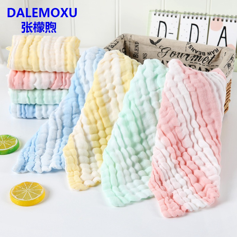 Baby 6 layer Stripe Gauze Handkerchief Cotton Bib Towel Muslin Newborns bandanas Bib Soft Breathable Pure Cotton Towel Scarf in Bibs Burp Cloths from Mother Kids