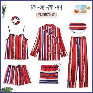 Image 5 - Conjunto de Pijama de 7 piezas para mujer, ropa de dormir Sexy de imitación de seda, Pijama de rayas, para el hogar, Primavera