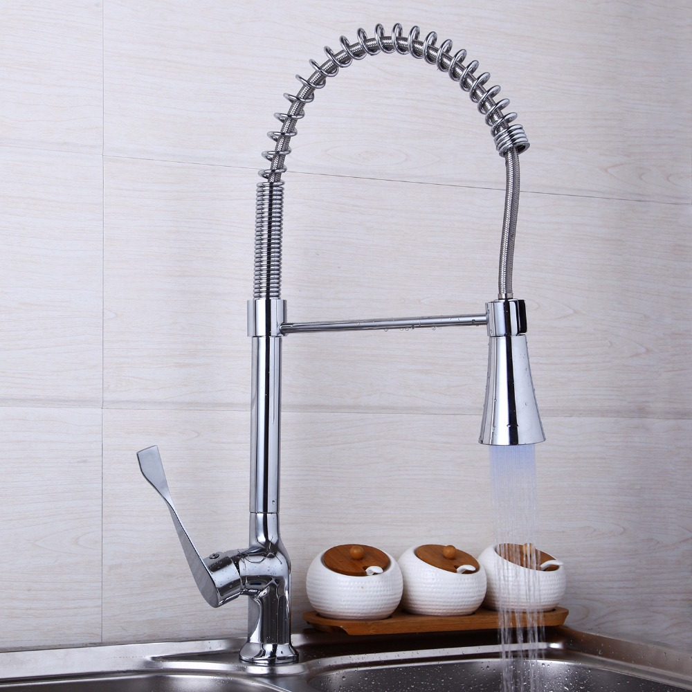 ФОТО Pull Out Kitchen Faucet Swivel Spout Kitchen Sink Water Mixer Tap LED Faucet JN8088