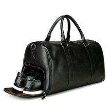 Men Gym Sport Travel Bag PU Outdoor Travel Bag Women Fitness Crossbody Shoulder Bags Large Capacity Leather Luaggage Storage Bag