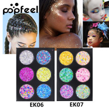 Popfeel Glitter Eyeshadow Palette Women Beauty Makeup Powder Sequins Shimmer Eye Face Body Make Up Cosmetic