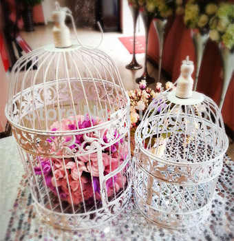 1set Handmade Antique white metal decorative wedding bird cage money boxes set wedding decoration wedding favors and gifts