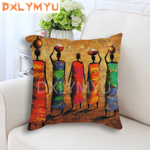 Hand-Painted African Style Oil Painting Printed 45*45cm Cushion Cover Linen Throw Pillow Car Home Decor Decorative Pillowcase все цены