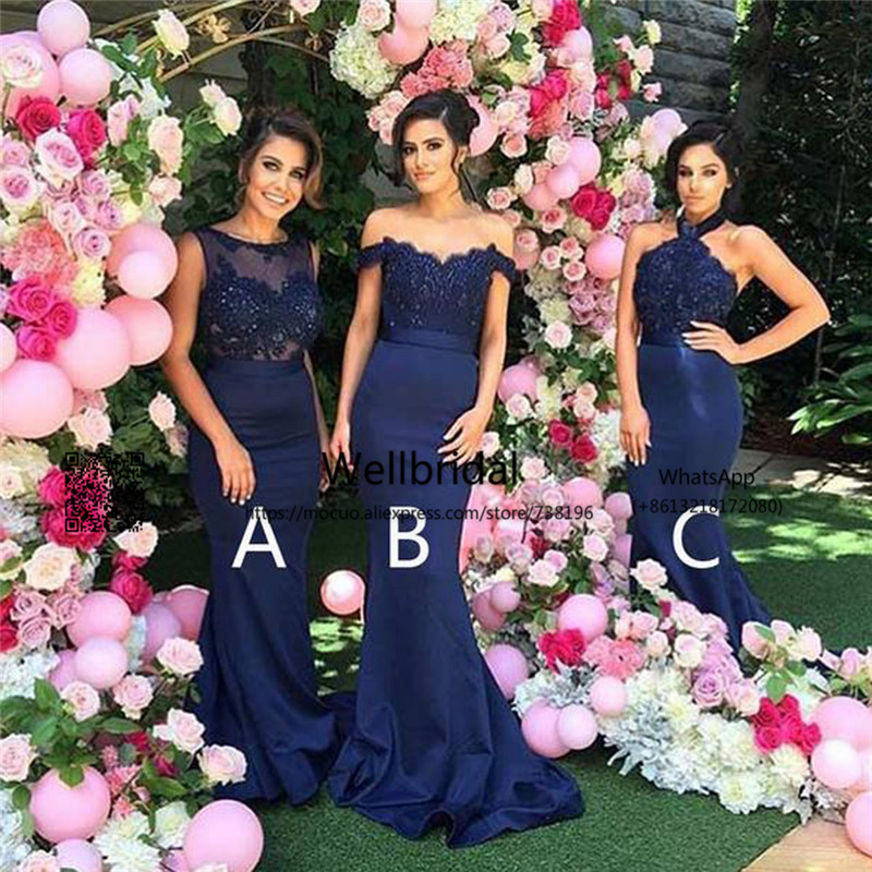 2017 New Mermaid Bridesmaid Dress With 3 Design Appliques Navy Blue Wedding Party Dress Affordable Bridesmaid Dress