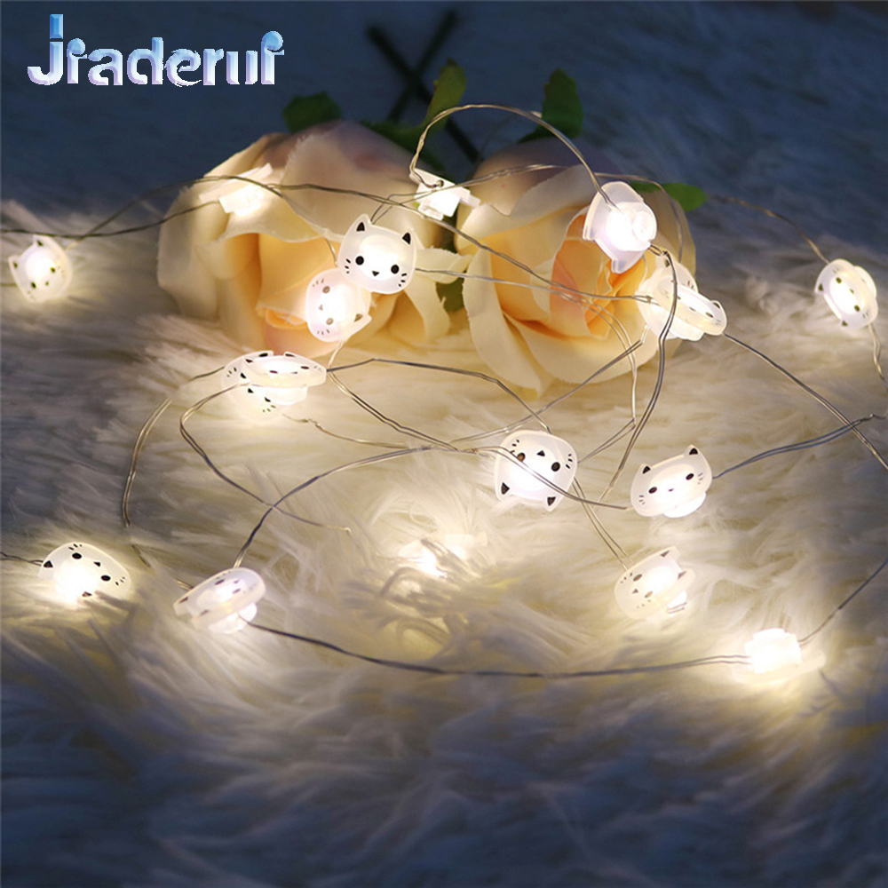 Jiaderui Home Decorations Lights 2M 20LED Cat Copper Wire String Lights LED Garland Lights Christmas Wedding Party Decor Battery