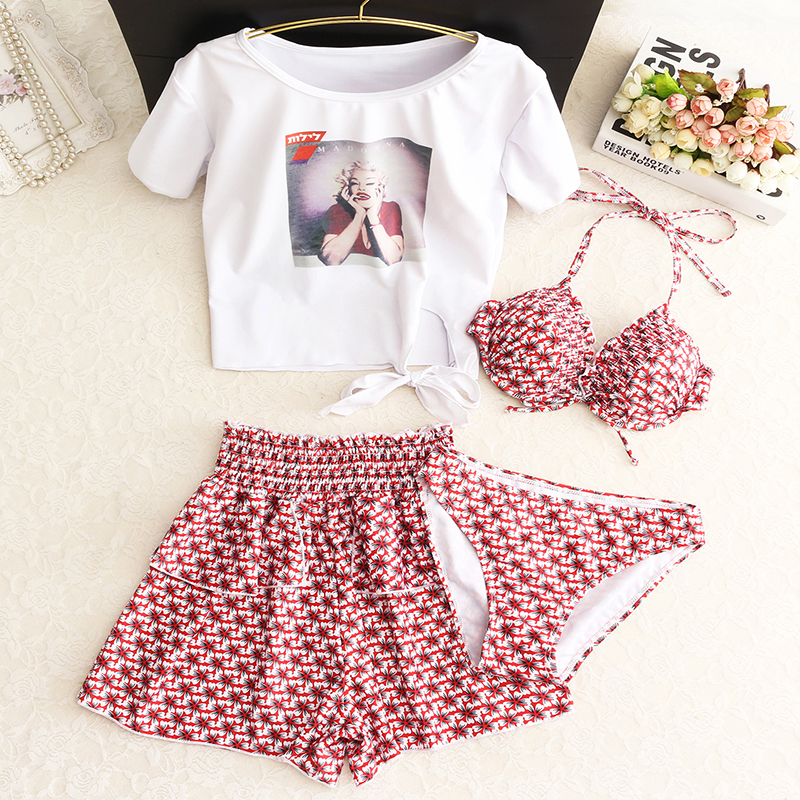 2018 Limited Time-limited Girls Split Skirt Three Conservative Suit Female Small Fragrant Chest Gathered Korean Spa Swimsuit split front wales check skirt