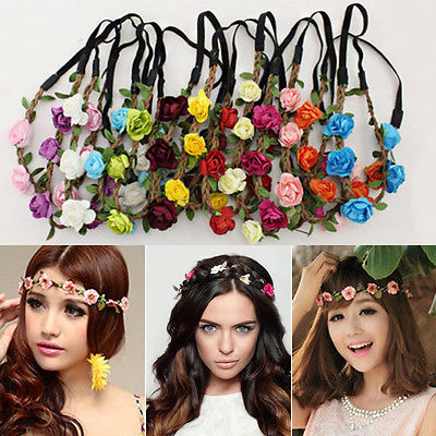 Handmade Floral Crown Flower Headband Hair Garland Wedding Headpiece Headwear Flower metting joura vintage bohemian ethnic tribal flower print stone handmade elastic headband hair band design hair accessories