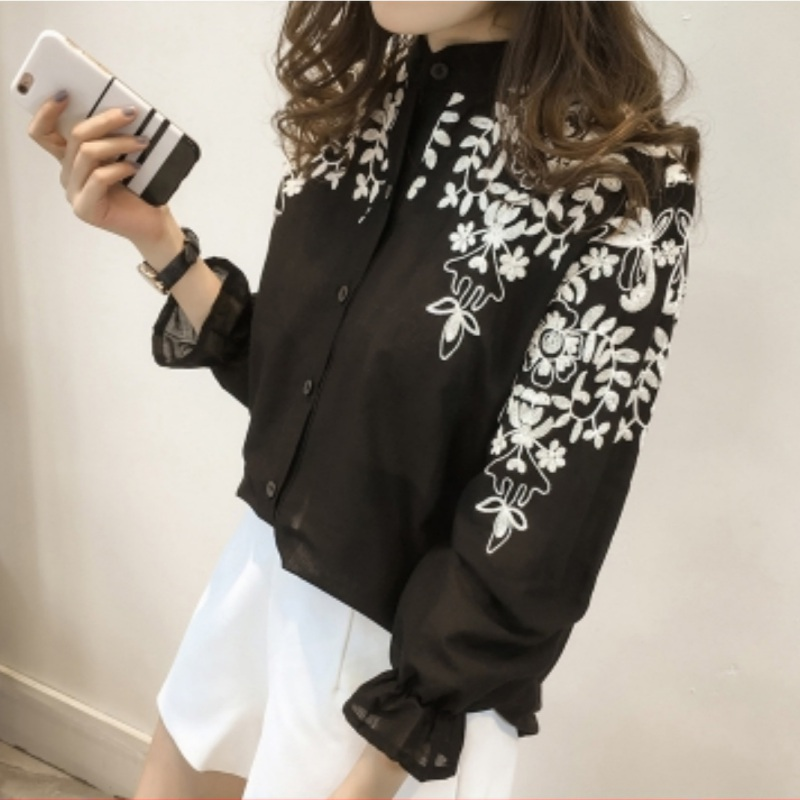 Women's Embroidery   Shirt   Cotton Linen Casual   Blouses     Shirts   Clothing White Black Embroidery Summer Tops Ladies' Fashion Blusa