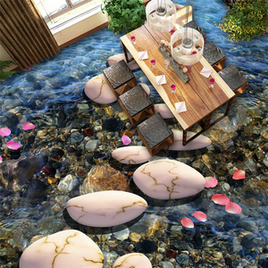 Wellyu personalizado 3d piso adesivos rio pedra banheiro filme plástico telhas pode ser auto-adesivo sala de estar quarto piso