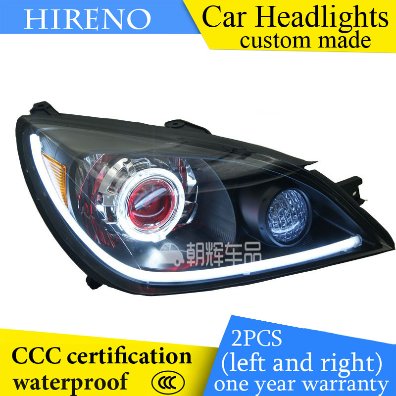 Hireno custom Modified Headlamp for Mitsubishi lancer 2006-2008 Headlight Assembly Car styling Angel Lens Beam HID Xenon 2 pcs hireno modified headlamp for kia cerato 2006 2008 headlight assembly car styling angel lens beam hid xenon 2 pcs