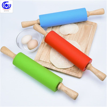 41cm large size rolling pin silicone solid wood handle roller kitichen Cooking Tools dumpling stick non-stick flour by 3 colors