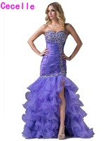 2017 Sexy Lavender Long Mermaid Prom Dresses Sweep Train For Seniors Sweetheart Beaded Tiered Slit Organza