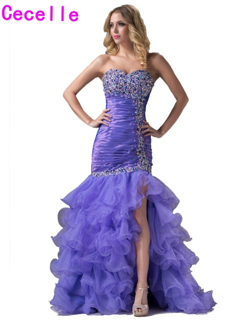 ef92d9c748 2019 Sexy Lavender Long Mermaid Prom Dresses Sweep Train For Seniors Sweetheart  Beaded Tiered Slit Organza Evening Prom Dress