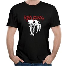 Comfortable Crew Neck Men Short Gift  Band Red Fang With Skull Prehistoric Dog District Shirts
