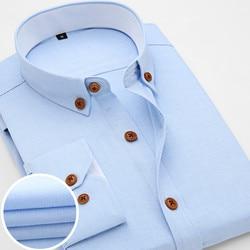 2016 New Oxford Plaid Casual Men's Shirt Slim Fit Formal&Business Occupation Man Shirts Spring Long Sleeve Men Dress Shirt M038 5