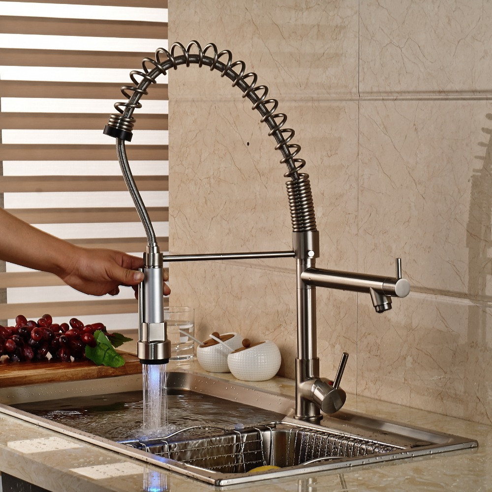 LED Color Kitchen Swivel Spout Brushed Nickle Pull Out Spout Double Sprayer Tap