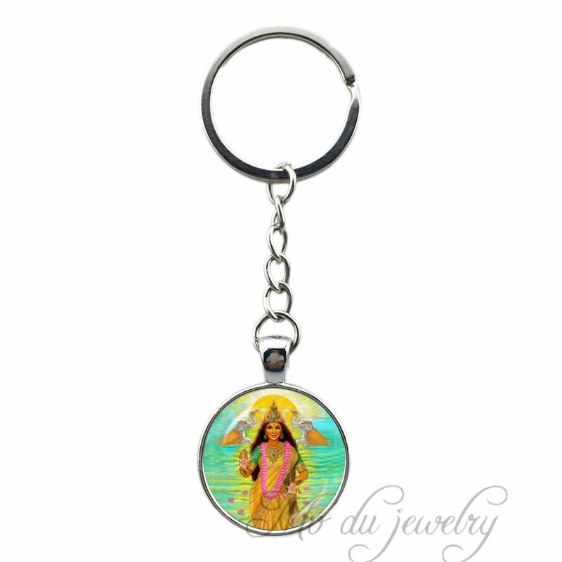 God Shiva Jewelry India Fashion Buddha Hindu Religion Glass Pendant Key Chain India Guardian God Vishnu Key Ring Best Gifts