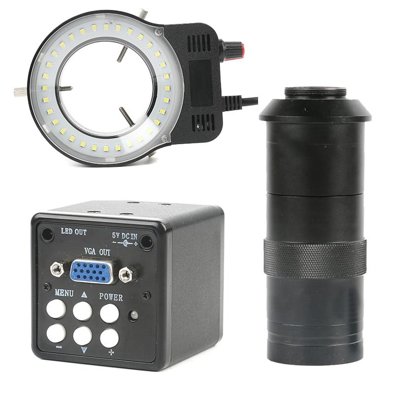 2.0MP VGA промышленный цифровой электронный видео микроскоп камера 100X зум C креплением объектива со светодио дный лампы кольцо DIY PCB пайки компл...