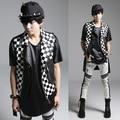 mens punk vests 2016 Metrosexual new men Korean punk style vest plaid personality Man Costume leather vest
