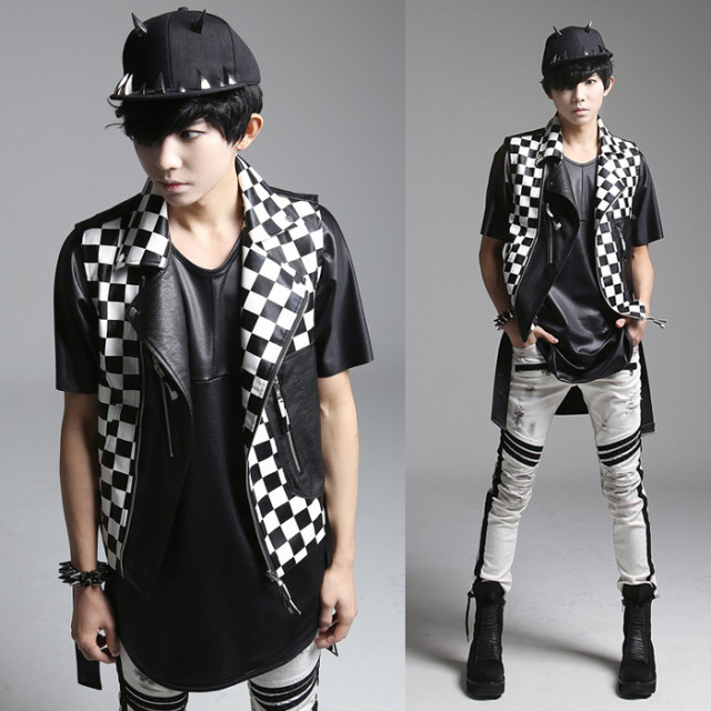 mens punk vests 2016 Metrosexual new men Korean punk style vest plaid personality Man Costume leather vest