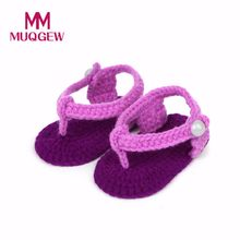 MUQGEW New Fashion Baby Shoes Crib Crochet Casual Baby Girls Handmade Knit Sock Roses Infant Shoes 15(China)