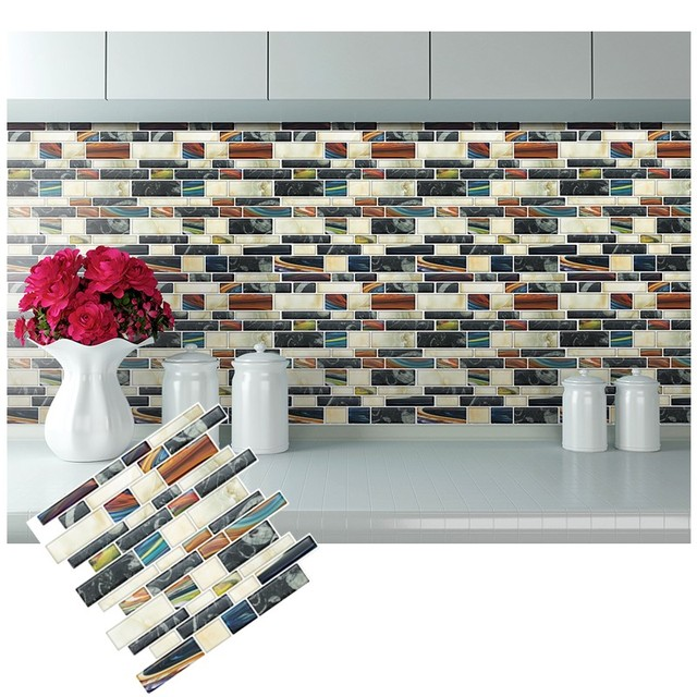 L And Stick Backsplash Removable Self Adhesive Mosaic Stone Tile Wall Decal Sticker Diy Kitchen Bathroom