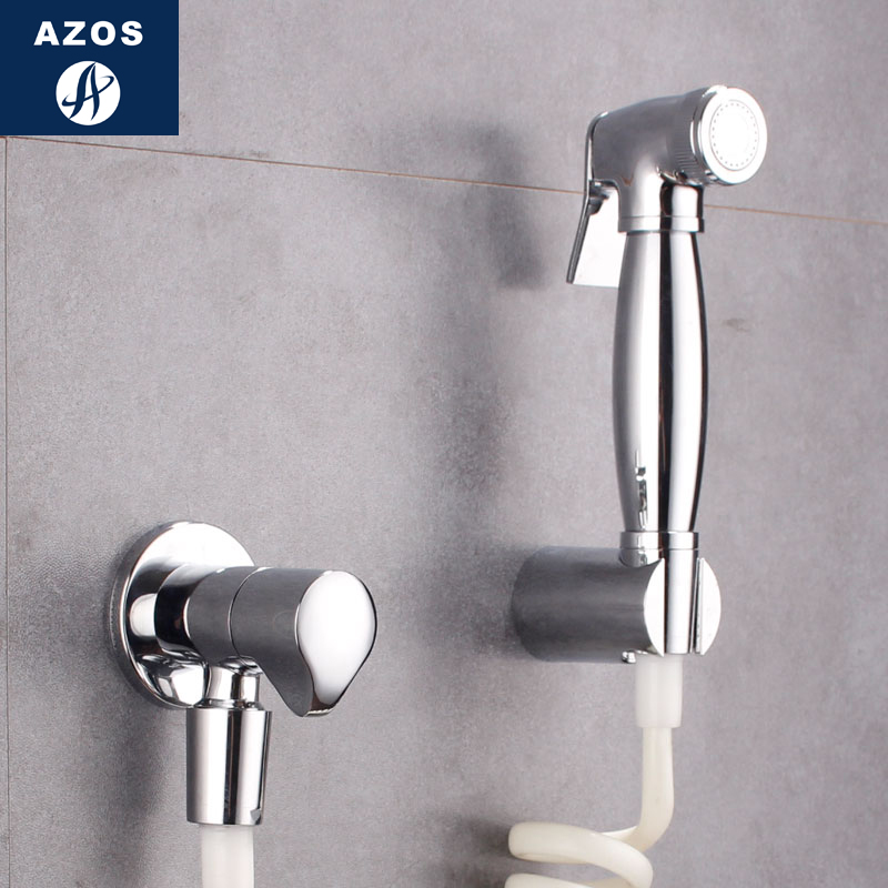 Azos Bidet Faucet Pressurized Sprinkler Head Brass Chrome Cold Water Single Function Toilet Pet Bath Shower Room Round PJPQ030B